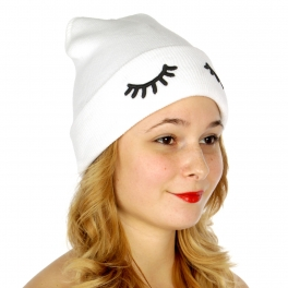 Wholesale P27A Eyelash embroidered beanie WT