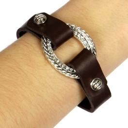 Wholesale WA00 Knot & rhinestones design snap on leather bracelet ASB