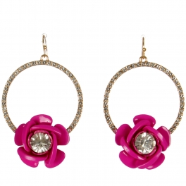 Wholesale WA00 Rose & rhinestone hoop earrings GFU