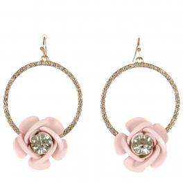 Wholesale WA00 Rose & rhinestone hoop earrings GPK