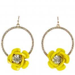 Wholesale WA00 Rose & rhinestone hoop earrings GYE