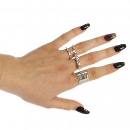Wholesale WA00 Rhinestone studded three rings set RCL