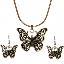 Wholesale WA00 Butterfly pendant chain necklace set AG