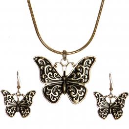 Wholesale WA00 Butterfly pendant chain necklace set AG