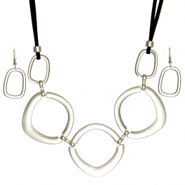 Wholesale WA00 Smooth rectangular rings necklace set MS