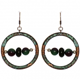 Wholesale WA00 Stone & coil ring earrings OG