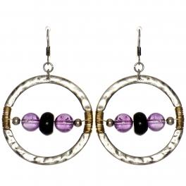 Wholesale WA00 Stone & coil ring earrings SB