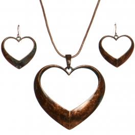 Wholesale WA00 Heart ring pendant necklace set OG