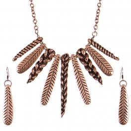 Wholesale WA00 Feather & braids necklace set CB