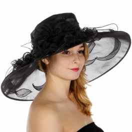 Wholesale TX10 Blossom & ribbon solid organza hat Black
