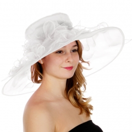 Wholesale TX10 Blossom & ribbon solid organza hat White