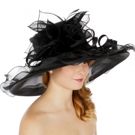 Wholesale BX00 Shiny organza flower & feather hat black