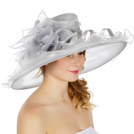 Wholesale BX00 Shiny organza flower & feather hat Grey
