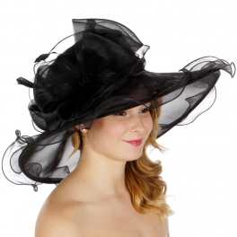 Wholesale BX00 Shiny organza bow flower & feather hat black