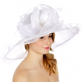 Wholesale BX00 Shiny organza bow flower & feather hat White