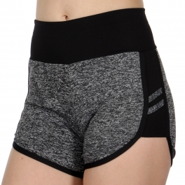Wholesale C47D Side color insert heathered active shorts Black