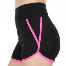 Wholesale C47A Black & neon active shorts Fuchsia