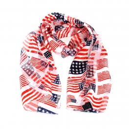 Wholesale WA00 13x60 American flag print oblong striped satin scarf USA