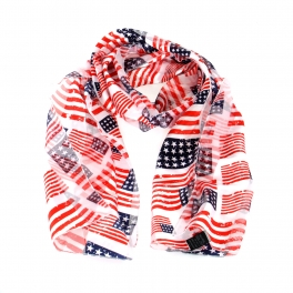 Wholesale WA00 13x60 American flag print oblong striped satin scarf USA