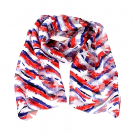 Wholesale WA00 13x60 Vintage stars and stripes print oblong striped satin scarf USA