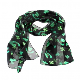 Wholesale WA00 13x60 Shamrock & hat print oblong striped satin scarf BK