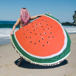 Wholesale J14A Watermelon print round beach blanket & shawl w/ tassels