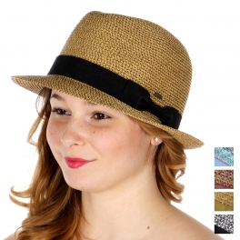 Wholesale V08A Multitone fedora w/ bow band (size adjustable) BLK/WHT