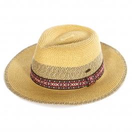 Wholesale W16C Tribal band panama hat (size adjustable) Natural