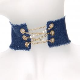 Wholesale WA00 Frayed denim chain corset choker MBL