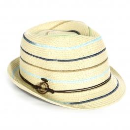 Wholesale V13A Colorful stripes fedora w/ ring band (size adjustable) BLK/DENIM