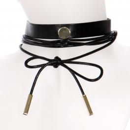 Wholesale WA00 Dot leather choker & cord string choker set BLK
