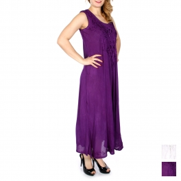Wholesale K61C Lace up front embroidered long dress