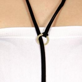 Wholesale WA00 Suede Y necklace w/ ring GDBLK