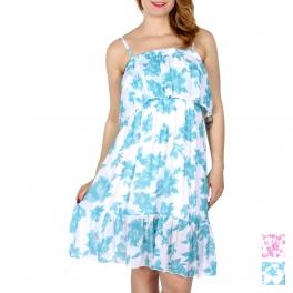 Wholesale I10C Gauzed short flounce floral dress