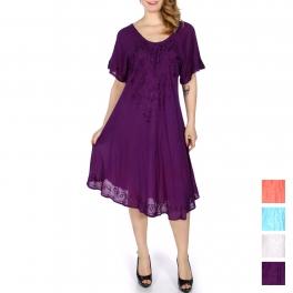 Wholesale K38B Lace up embroidery short sleeve solid batik dress
