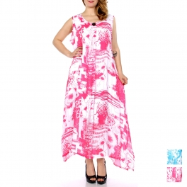 Wholesale K65D Abstract floral print gauzed maxi dress