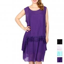 Wholesale H48C Poly gauze layered 2 pieces dress w/ crochet fringe