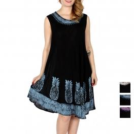 Wholesale K18C Pineapple embroidery batik umbrella dress