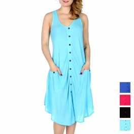 Wholesale M27A Button down solid short dress w/ pockets