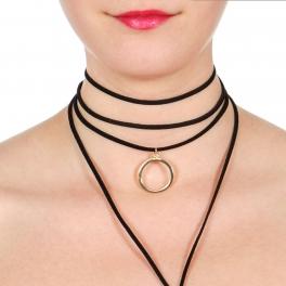 Wholesale WA00 Ring pendant choker & suede Y necklace set GDBLK