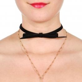 Wholesale M19D Bow choker & Y necklace set GDBLK