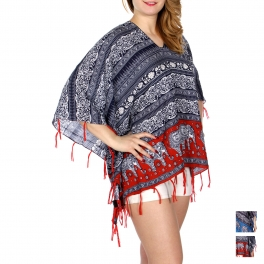 Wholesale I34D Elephants & filigree coverup top w/ tassel fringe