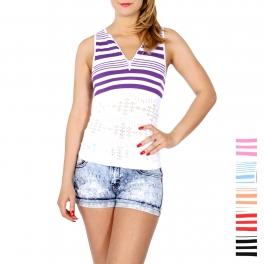 Wholesale K79B Zipper neck striped sleeveless top