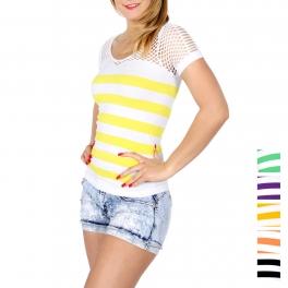 Wholesale N41D Fishnet insert striped t-shirt