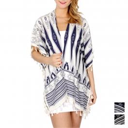 Wholesale K18B Aztec stripe ruana w/ tassels