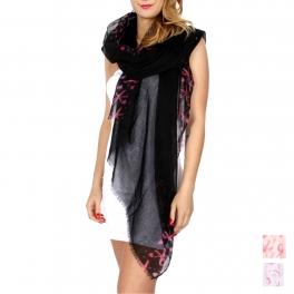 Wholesale K52B Pink ribbon & hearts scarf