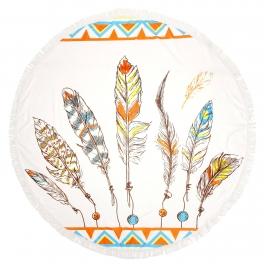 Wholesale H12E Feather round beach shawl & blanket Ivory