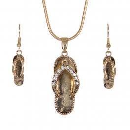 Wholesale WA00 Sea animals flip-flop twinkle necklace earrings set GD