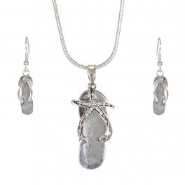 Wholesale WA00 Vintage starfish flip-flop necklace earrings set SV