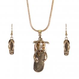 Wholesale WA00 Shine starfish flip-flop necklace earrings set GD